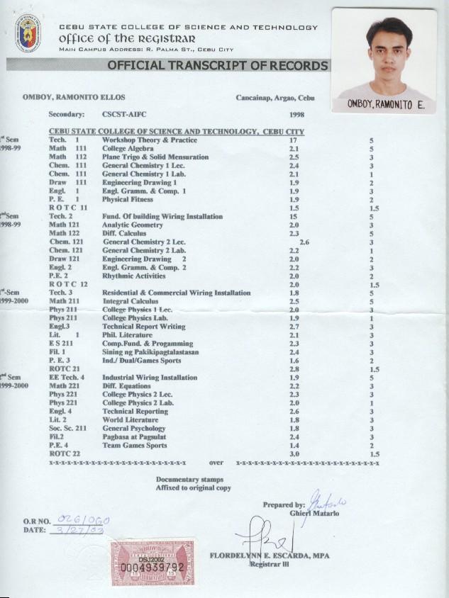 Transcript Of Records - Engr. Ramonito E. Omboy